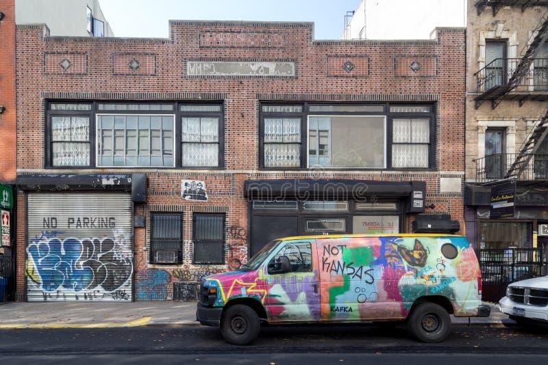 Graffiti covered van stock photos