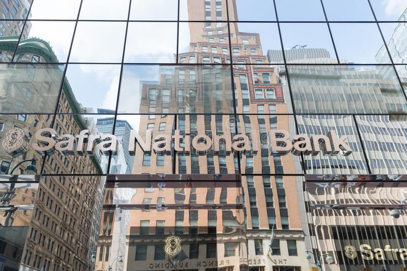 The glass windows of the Safra National Bank building stock photo
