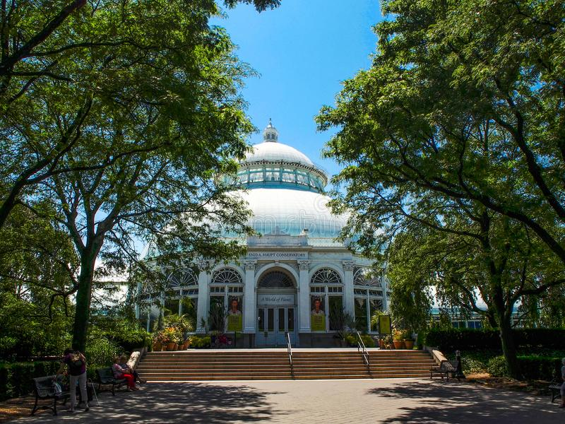 New York - United States -Enid Haupt Conservatory in New York Botanical Gardenin New York City. New York - United States, June 26, 2015 -Enid Haupt Conservatory royalty free stock images