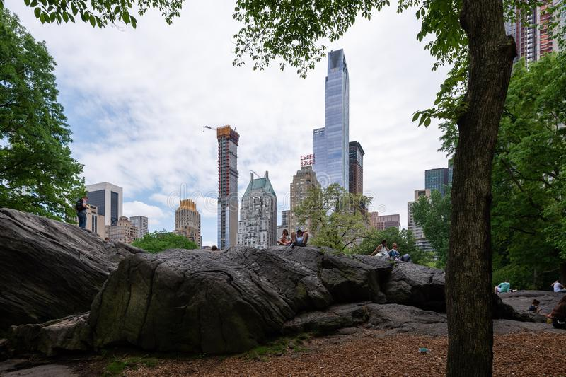 New York, United States, - May 21, 2018: People hanging out at Central Park, Manhattan, New York City stock image