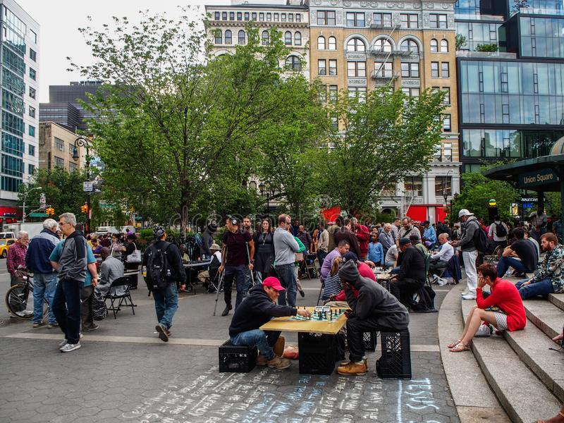 New York - United States,  People playing chess in Union Square in New York. New York - United States, May 22 - 2015    People playing chess in Union Square in stock photography