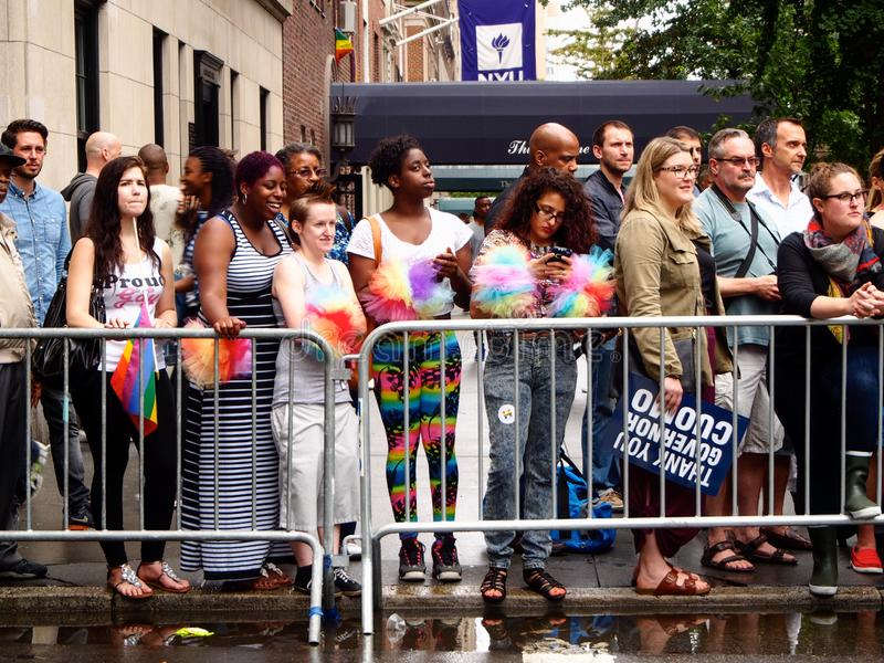 New York, United States - peple waiting to see the New York gay parade royalty free stock images