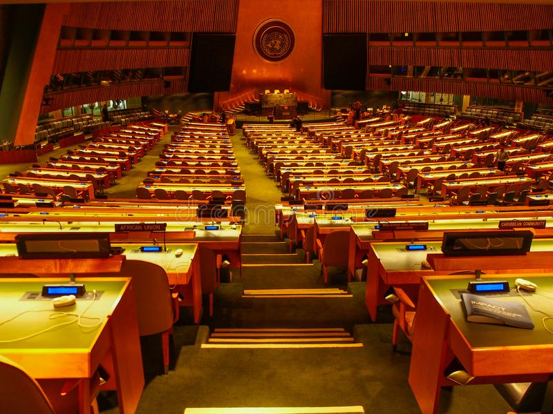 New York - United States, The United Nations General Assembly room in the headquarters building in New York City stock photo