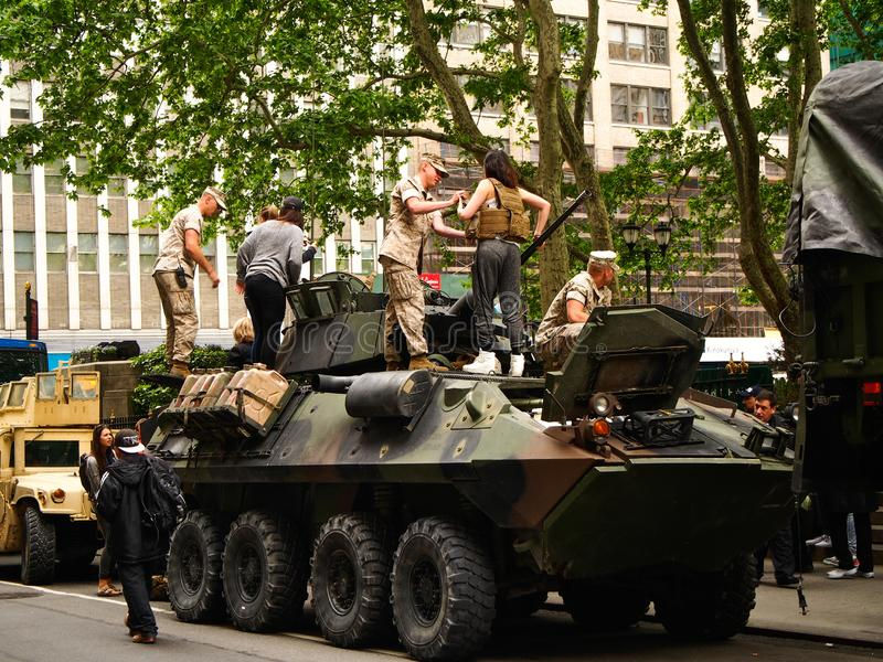 New York - United States,  US Marines  on a military tank parked on the street during a demonstration for the public stock image