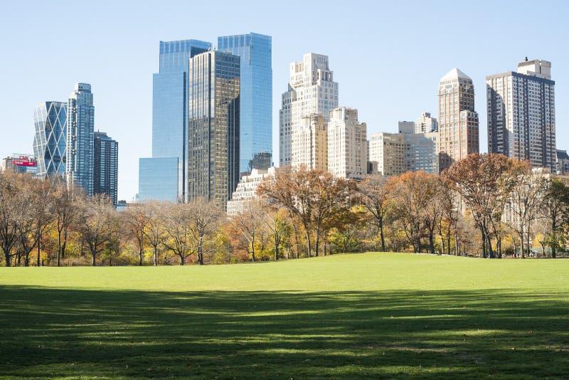 NEW YORK, US - 23. NOVEMBER: Manhattan-Skyline mit Central Park stockfotografie