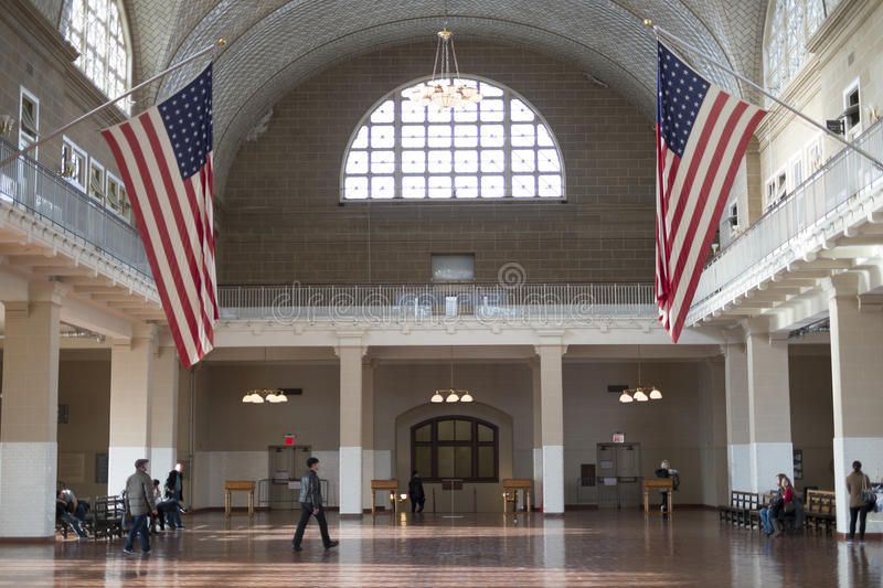 NEW YORK, US - NOVEMBER 22: Registration hall in Ellis Island where arriving immigrants went through health inspection. November stock photography