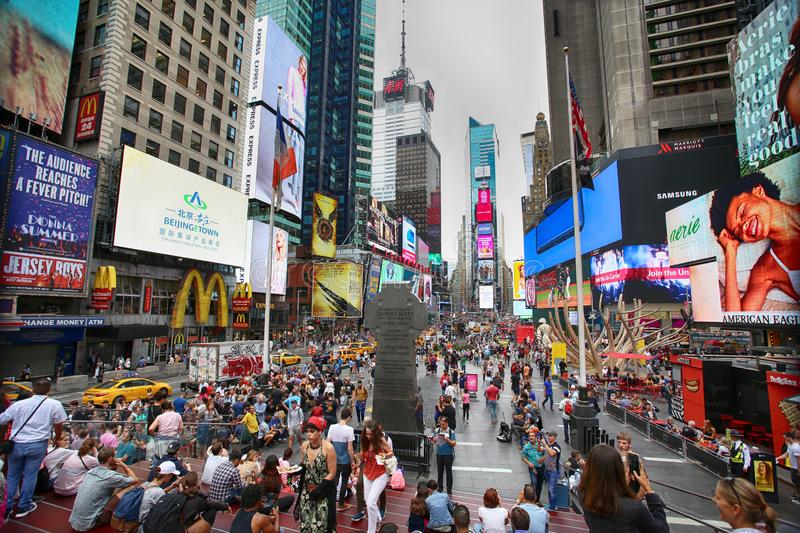 New York, USA – August 20, 2018: Crowded with many people walk stock photo