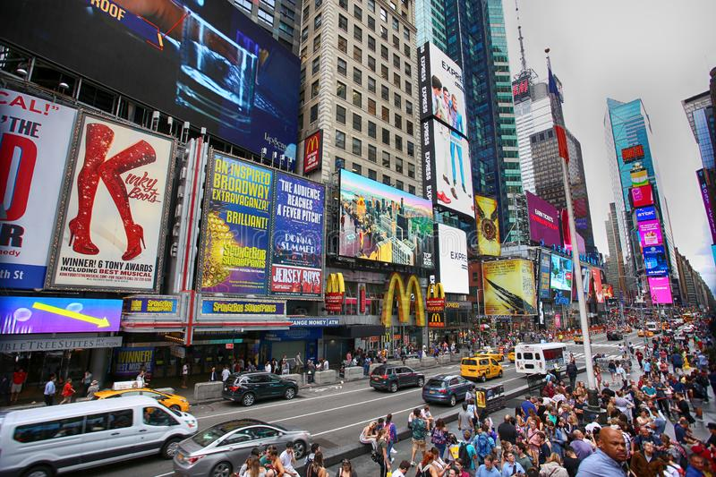 New York, USA – August 20, 2018: Crowded with many people walk stock images
