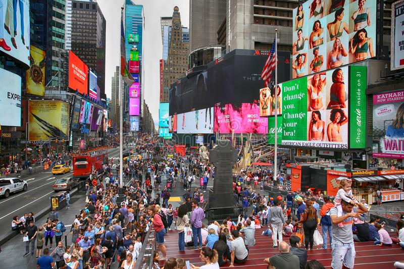 New York, USA – August 20, 2018: Crowded with many people walk stock image