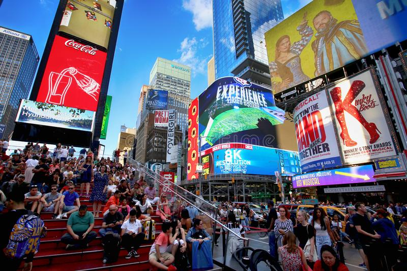 New York, USA – August 24, 2018: Crowded with many people walk royalty free stock images