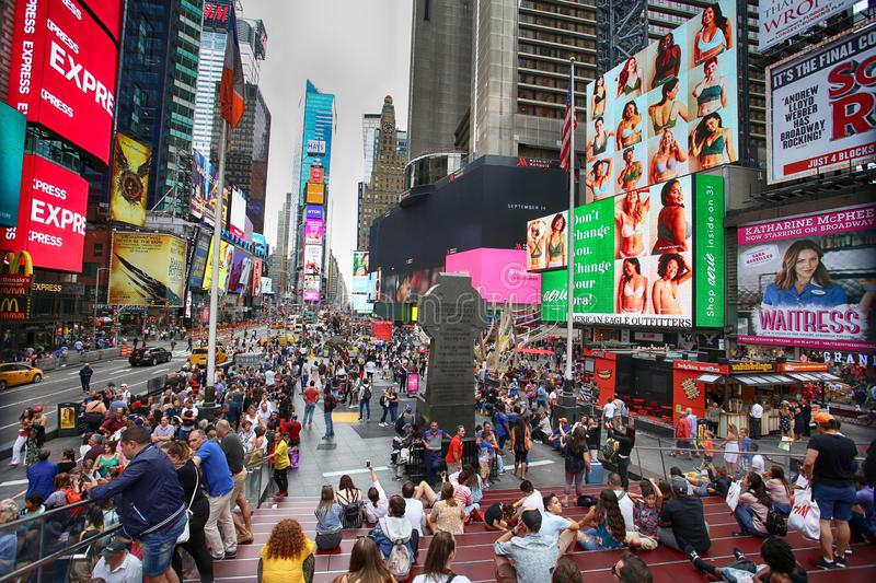 New York, USA – August 20, 2018: Crowded with many people walk royalty free stock photos
