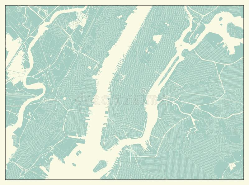 New York USA översikt i Retro stil vektor illustrationer