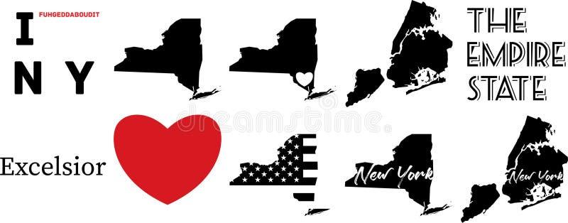 New York USA översikt och hjärtasymbolet royaltyfri illustrationer