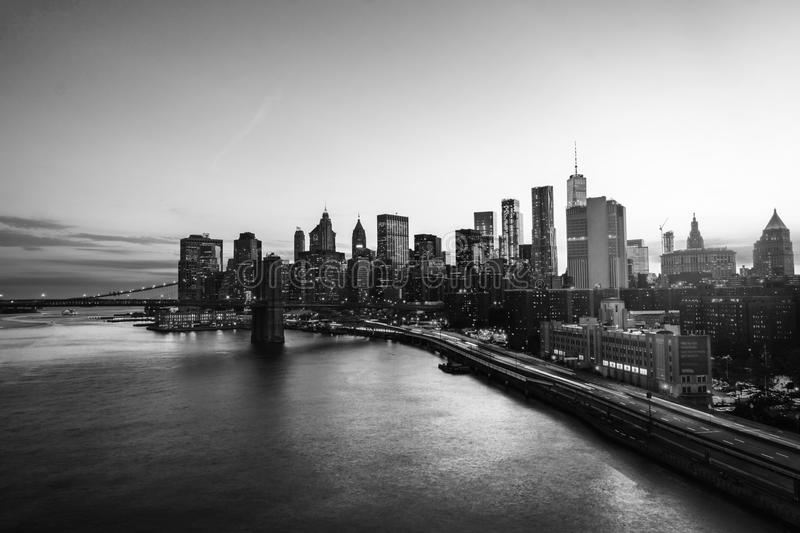 Aerial view on the city skyline in New York City, USA at night. Famous skyscrapers. Black and white royalty free stock photography