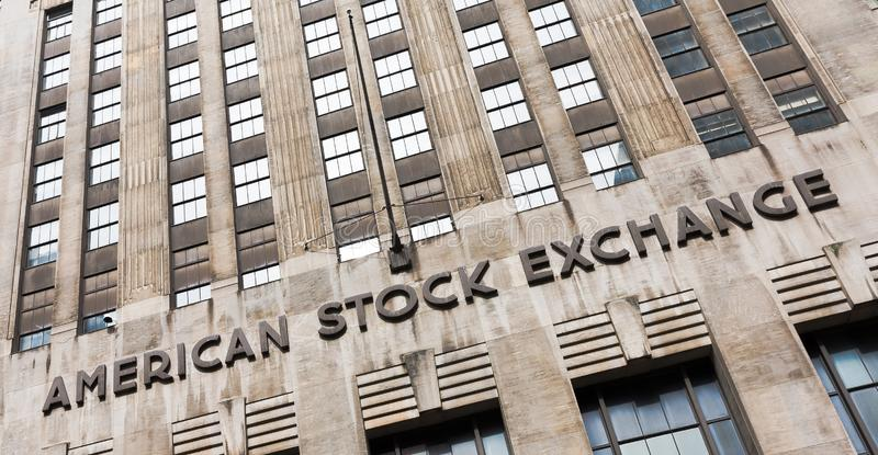 American stock exchange - AMEX. NEW YORK, USA - Apr 28, 2016: American stock exchange AMEX in Lower Manhattan, NYC. Third-largest stock exchange by trading royalty free stock photography