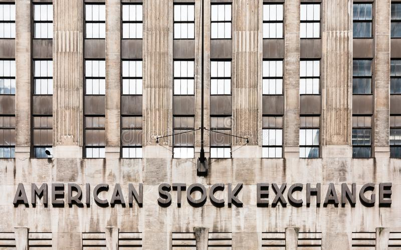 American stock exchange - AMEX. NEW YORK, USA - Apr 28, 2016: American stock exchange AMEX in Lower Manhattan, NYC. Third-largest stock exchange by trading royalty free stock images