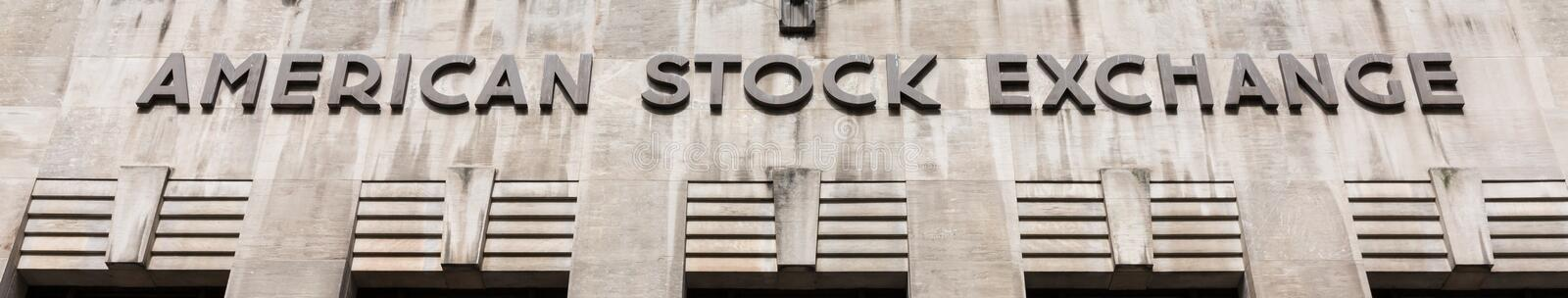 American stock exchange - AMEX. NEW YORK, USA - Apr 28, 2016: American stock exchange AMEX in Lower Manhattan, NYC. Third-largest stock exchange by trading stock photos