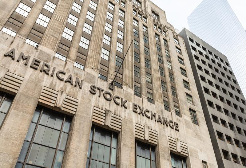 American stock exchange - AMEX. NEW YORK, USA - Apr 28, 2016: American stock exchange AMEX in Lower Manhattan, NYC. Third-largest stock exchange by trading royalty free stock photo