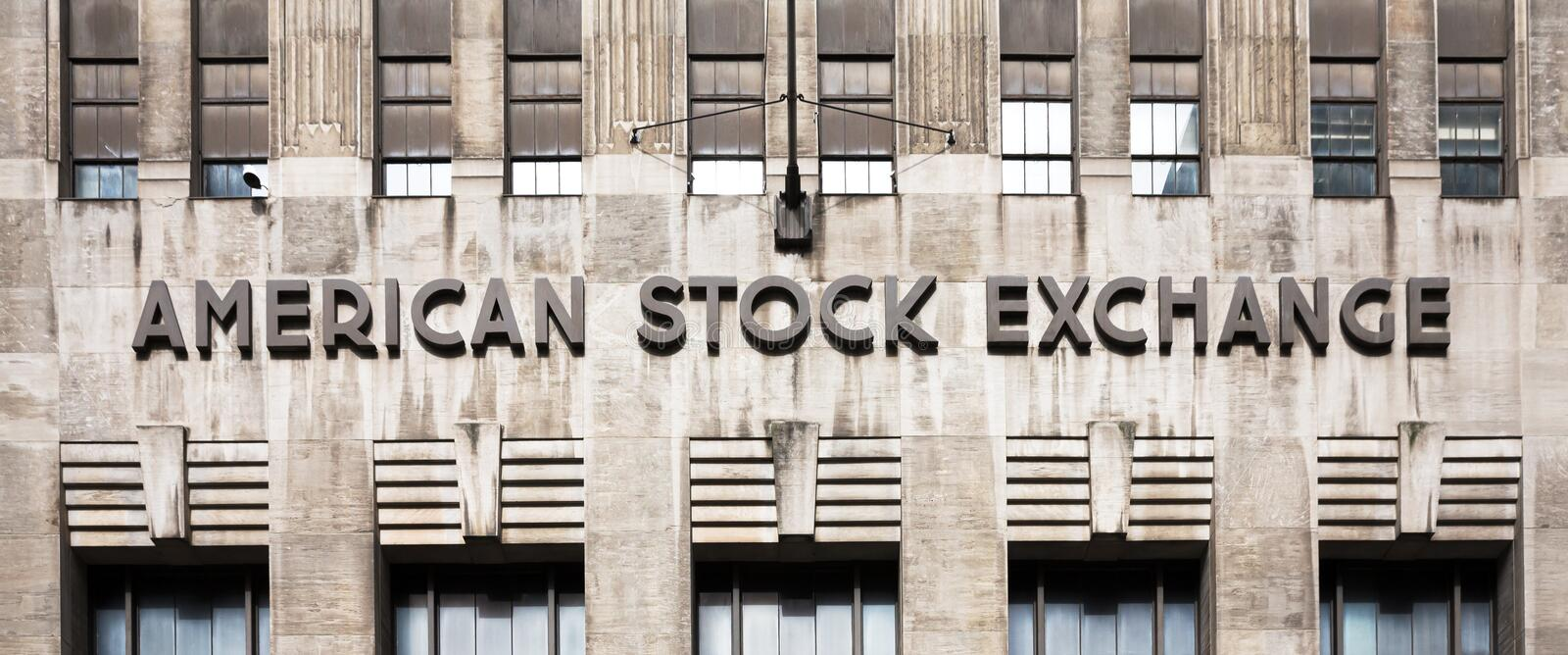 American stock exchange - AMEX. NEW YORK, USA - Apr 28, 2016: American stock exchange AMEX in Lower Manhattan, NYC. Third-largest stock exchange by trading stock photo