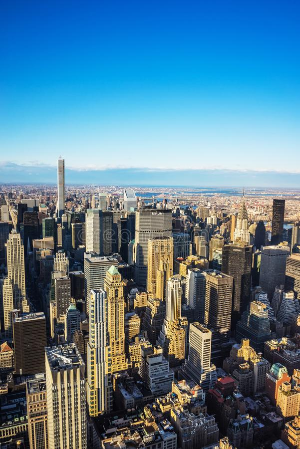 Aerial view on Midtown Manhattan in New York NYC. New York, USA - April 25, 2015: Aerial view on Midtown Manhattan in New York, NYC, USA stock images