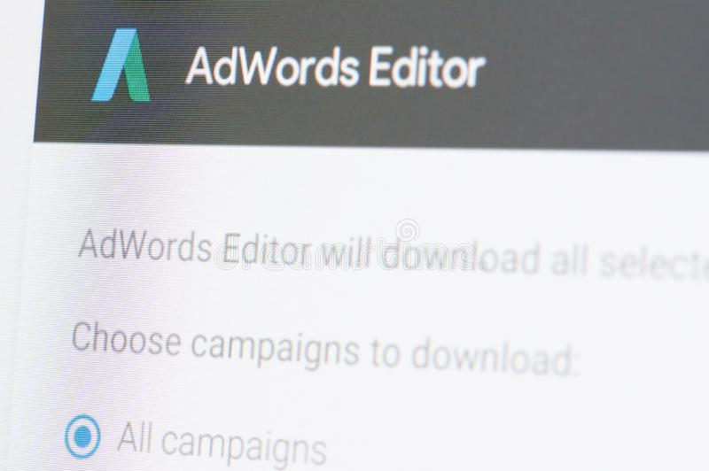 Google adwords editor. New york, USA - april 8, 2019: Google adwords editor on digital screen macro close up view stock photos