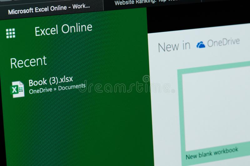 Microsoft excel online. New york, USA - april 22, 2019: Microsoft excel online menu on laptop screen close up royalty free stock photos