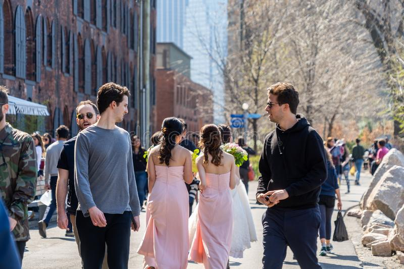 NEW YORK, USA - APRIL 28, 2018: People in streets of Dumbo, Brooklyn, New York. USA stock photo