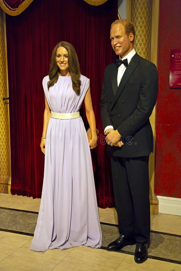 Prince Williams and Kate Middleton in Madame Tussauds of New York. New York, USA - April 30, 2018: Prince Williams and Kate Middleton in Madame Tussauds of New stock images