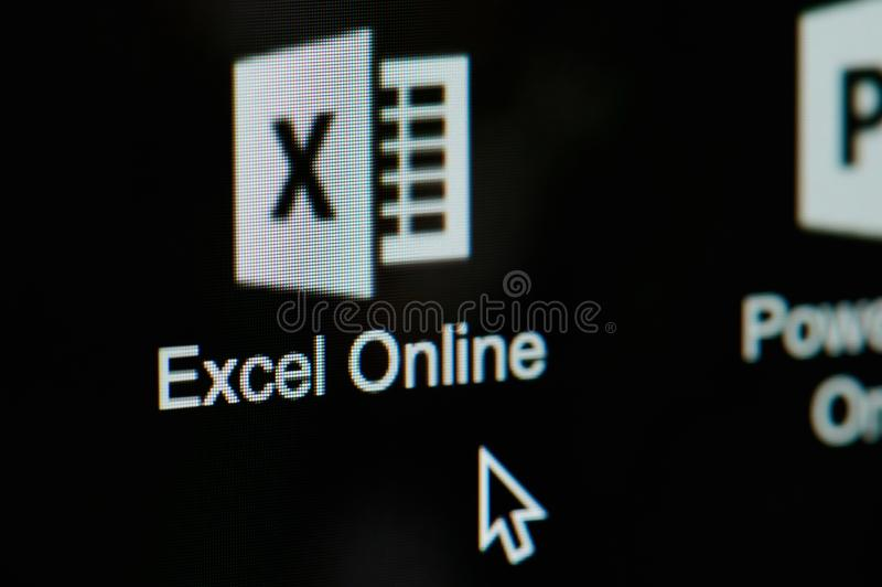 Start microsoft office excel online. New york, USA - april 22, 2019: Start microsoft office excel online on laptop screen close up stock photography