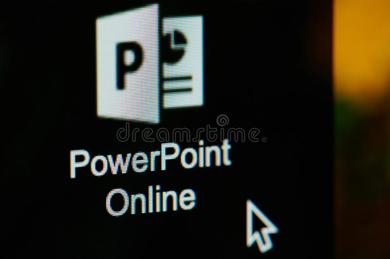 Starting Microsoft Powerpoint online. New york, USA - april 22, 2019: Starting Microsoft Powerpoint online on laptop screen close up royalty free stock image