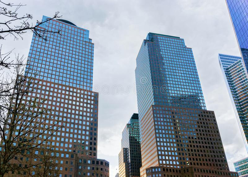 Three World Financial Center in Financial District. New York, USA - April 24, 2015: Three World Financial Center in Financial District. It is also known as royalty free stock image