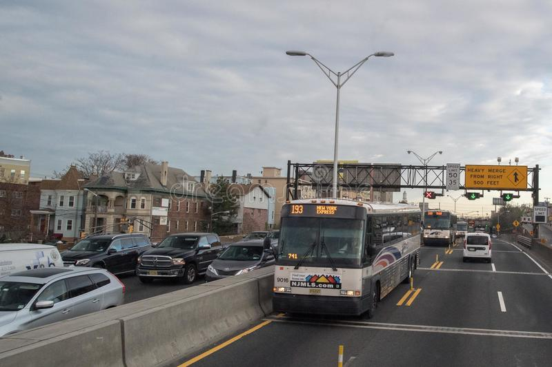 NEW YORK, USA - APRIL 24 2017 - Traffic from NY to New Jersey royalty free stock photography