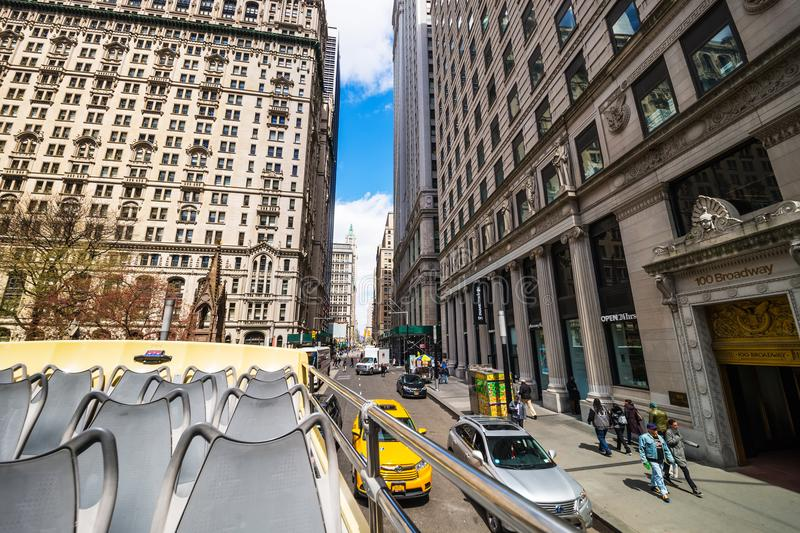 100 Broadway street in Midtown Manhattan NYC. New York, USA - April 24, 2015: 100 View from excursion bus on Broadway street in Midtown Manhattan, New York, NYC royalty free stock photography