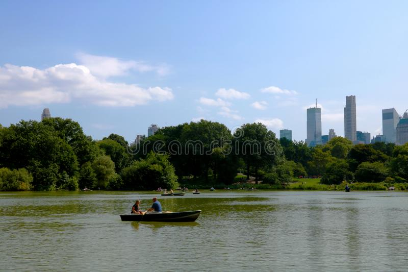 NEW YORK, USA - August 30, 2018: boat on the canal in Central Park, New York City, USA.  royalty free stock images