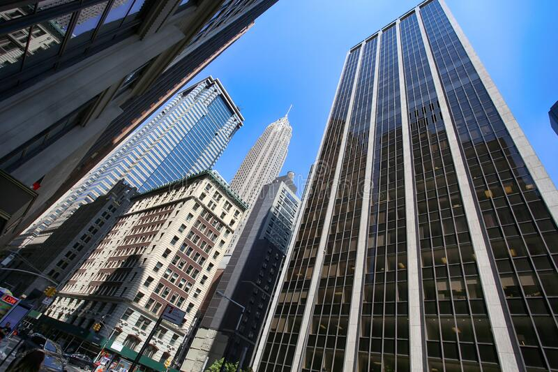 High rise office buildings in Wall Street financial district in Lower Manhattan, New York, USA royalty free stock photography