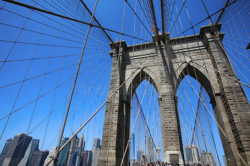 New York, USA – August 23, 2018: People on pedestrian walkway on the Brooklyn Bridge, this bridge connects Manhattan and stock photos