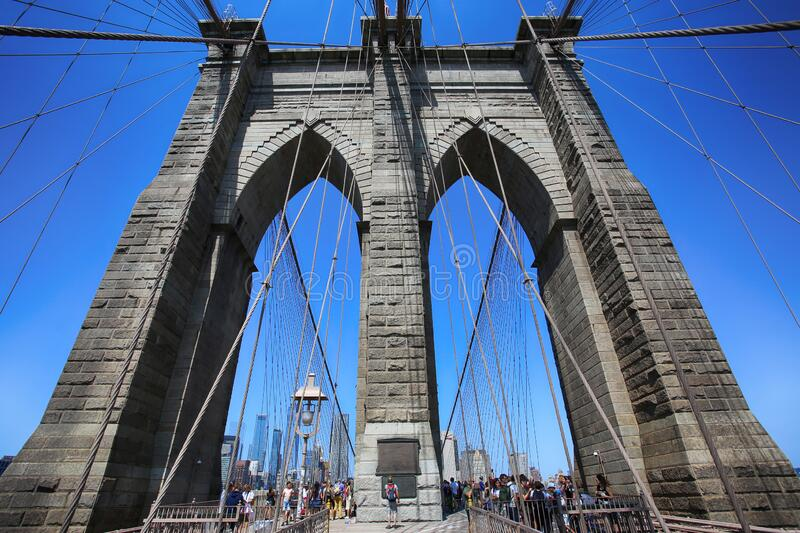 New York, USA – August 23, 2018: People on pedestrian walkway on the Brooklyn Bridge, this bridge connects Manhattan and royalty free stock image
