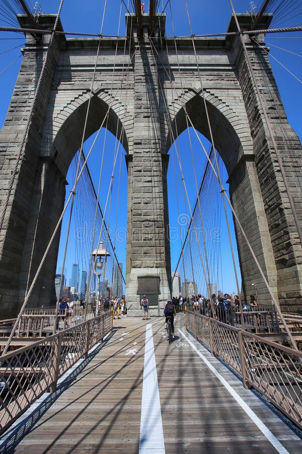New York, USA – August 23, 2018: People on pedestrian walkway on the Brooklyn Bridge, this bridge connects Manhattan and royalty free stock images