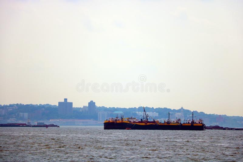 NEW YORK, USA - August 31, 2018: port in new york on a cloudy day.  royalty free stock photography