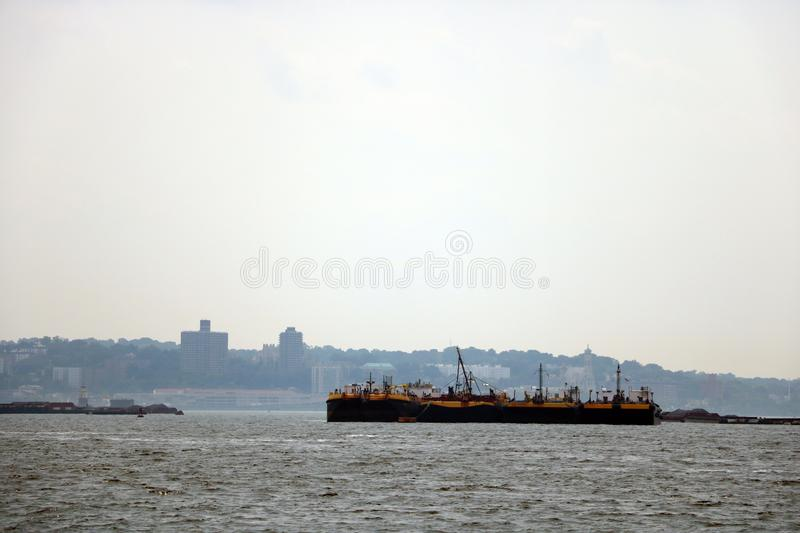 NEW YORK, USA - August 31, 2018: port in new york on a cloudy day.  stock image