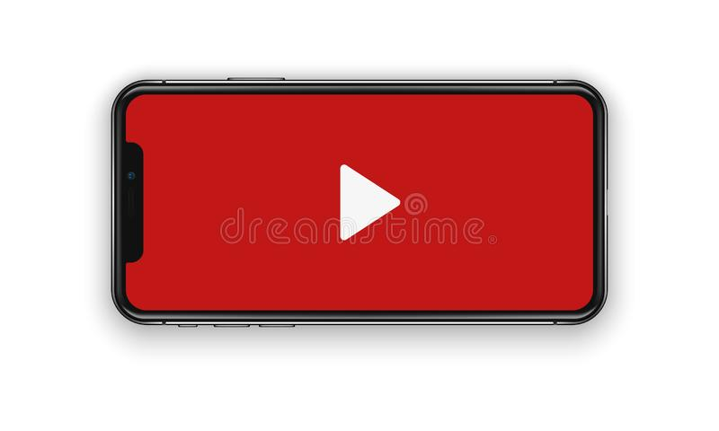 New York, USA - August 22, 2018: realistic new black red phone. Watching video. Frameless full screen mockup mock-up smartphone vector illustration