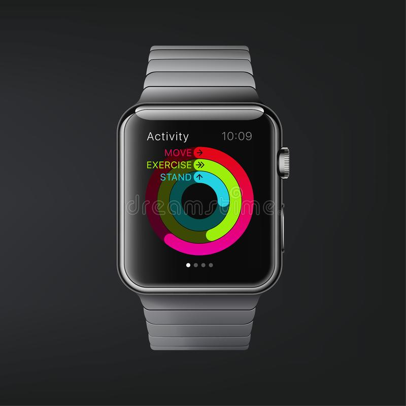 New York, USA - August 22, 2018: Stock vector illustration realistic new Apple Watch. Smart watch isolated on dark background. stock illustration