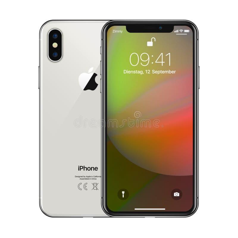 New York USA - Augusti 22, 2018: Lagerföra realistisk ny Apple för vektorillustrationen iPhone X 10 Frameless modellmodell för fu stock illustrationer