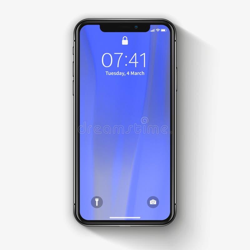New York USA - Augusti 22, 2018: Lagerföra realistisk ny Apple för vektorillustrationen iPhone X 10 Frameless modellmodell för fu arkivfoton