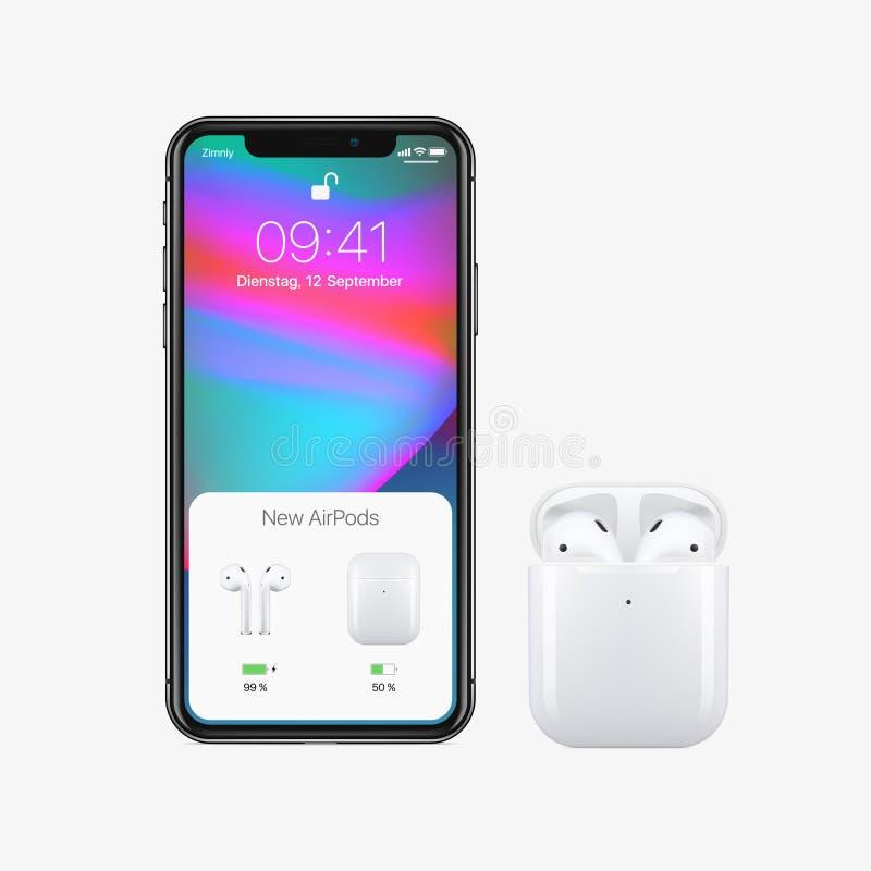 New York USA - Augusti 22, 2018: Lagerföra realistiska nya AirPods för vektorillustrationen trådlösa hörlurar i ask och ny Apple  royaltyfri illustrationer