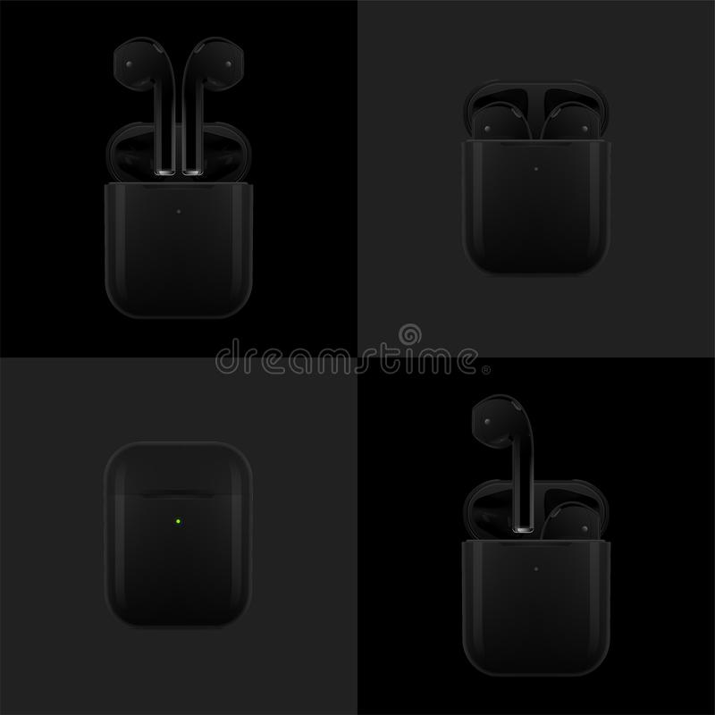New York USA - Augusti 22, 2019: Lagerföra realistiska svarta nya AirPods för vektorillustrationen trådlösa hörlurar i ask EPS 10 arkivfoto