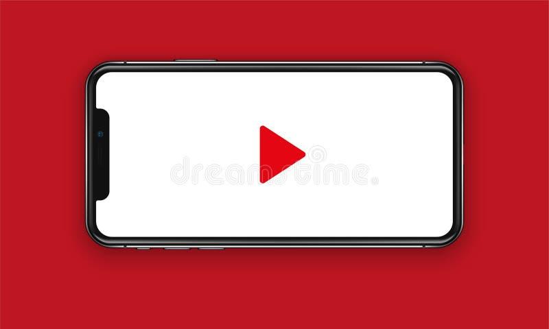 New York USA - Augusti 22, 2018: realistisk ny svart röd telefon Hållande ögonen på video Frameless för modellmodell för full skä royaltyfria bilder