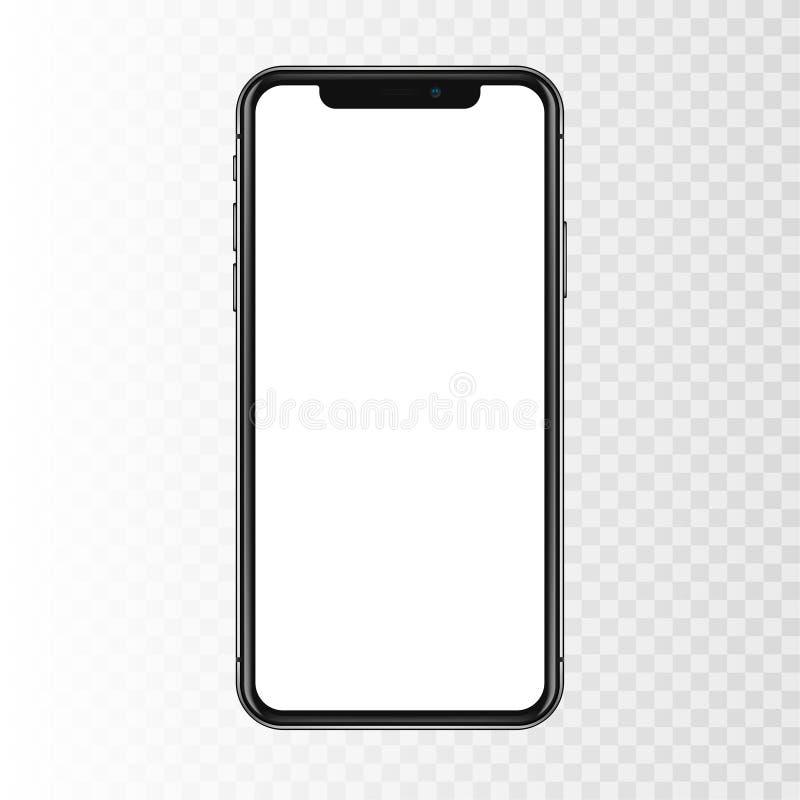 New York USA - Augusti 22, 2018: realistisk ny svart telefon Frameless för modellmodell för full skärm som smartphone isoleras på royaltyfri foto