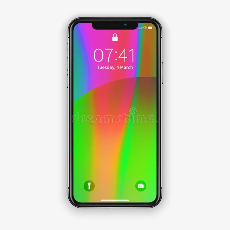 New York USA - Augusti 22, 2018: realistisk ny svart telefon Frameless för modellmodell för full skärm som smartphone isoleras på arkivfoto