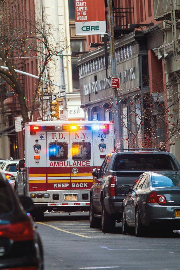 NEW YORK, USA - DECEMBER, 2017: FDNY ambulance - emergency wagon in Manhattan royalty free stock images